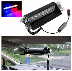 Takecare 8 LEDs Wind Shield Warning Flash Police Light 8W (Red And Blue) For Mahindra Bolero 2007