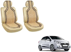 Takecare Car Wooden Bead Seat Cover For Hyundai Eon (Beige)