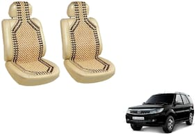 Takecare Car Wooden Bead Seat Cover For TATA Storm (Beige)