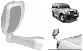 Takecare Front Fender Suv Wide Angle Mirror White For Mahindra Scorpio (1 Piece)