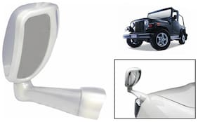 Takecare Front Fender Suv Wide Angle Mirror White For Mahindra Thar (1 Piece)
