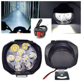 THE ONE CUSTOM 9 LED Motorcycle Bike LED Headlight Driving Fog Spot Light Lamp 2pcs & On Off Switch