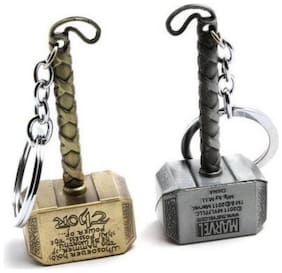 THOR HAMMER SILVER AND GOLDEN Key Chain