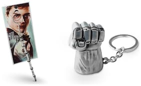 Three Shades Avengers keychain Hulk Silver Key Chain & Harry Potter Magical Wound Key chain Set of 2 Key chain