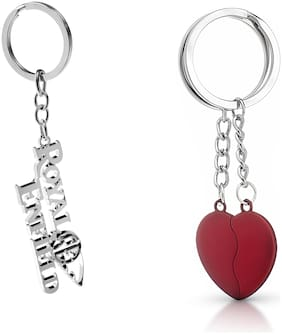 Three Shades Magnet Red Heart Keychain & Royal Enfield Keychain for Bullet Lovers & Riders
