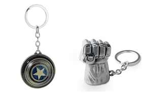 Three Shades Avengers keychain Hulk Silver Key Chain & Captain America Shield Keychain Round Moving Shield Set of 2 Key chain