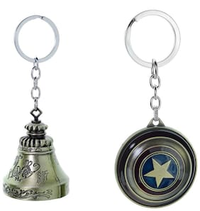 Three Shades Avengers keychain Captain America Shield Keychain & Genuine Temple Bell Key chain Set of 2 Key chain