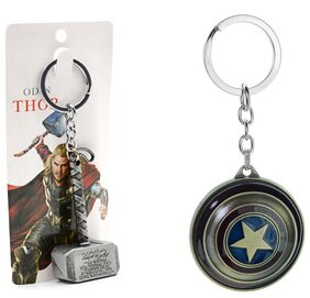 Three Shades Avengers keychain Captain America Shield Keychain & Thor Meow Original Silver Hammer Set of 2 Key chain