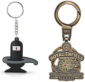 Three Shades Royal Enfield Logo metal keyring Locking Key Chain Combo Pack_043