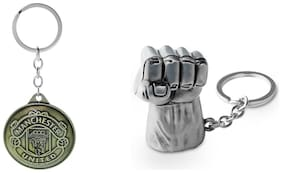 Three Shades Como Key chain Hulk Silver Key Chain for Avengers Lovers & Manchester United Set of 2 Key chain