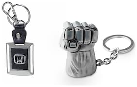Three Shades Avengers keychain Hulk Silver Key Chain & Honda car Key chain Set of 2 Key chain