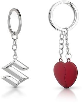 Three Shades Magnet Red Heart Keychain & maruti Suzuki Silver Keychain