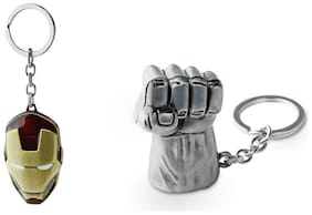 Three Shades Avengers keychain Hulk Silver Key Chain & Iron Man Mask Key chain Avengers series key chain Set of 2 Key chain