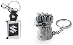 Three Shades Avengers keychain Hulk Silver Key Chain & Maruti Suzuki Car key chain Set of 2 Key chain