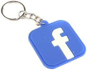 Three Shades FACEBOOK / FB Logo Synthetic / Silicone Long Key Chain (Blue;White)