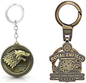Three Shades Royal Enfield Logo metal keyring Locking Key Chain Combo Pack_053