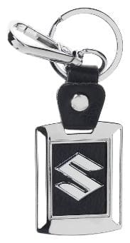 Three Shades Maruti Suzuki Leather Metal Logo Locking Curved Locking Car Key Chain (Black & Silver)