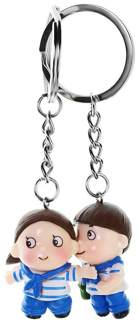 Three Shades Cool & Funky Love Couple Gift Key Chain Best Friend Couple Pack of 2 Couple Key Chain
