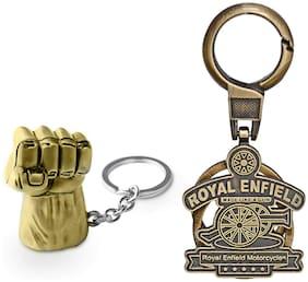 Three Shades Royal Enfield Logo metal keyring Locking Key Chain Combo Pack_041