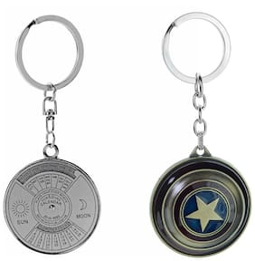 Three Shades Avengers keychain Captain America Shield Keychain & Round Shaped 50 Year Calendar Set of 2 Key chain