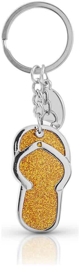 Three Shades Slipper Metal Key Chain in Attractive Colour & Design (Yellow)