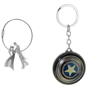 Three Shades Avengers Captain America Shield Keychain & Silver Colour key chain Newly Wedded Couple Set of 2 Key chain