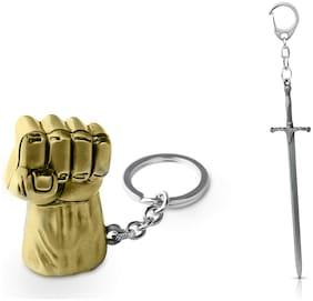 Three Shades Hulk Keychain & Game of Thrones Keychain Silver Sword Keychain