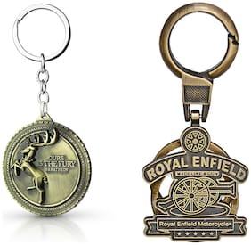 Three Shades Royal Enfield Logo metal keyring Locking Key Chain Combo Pack_052