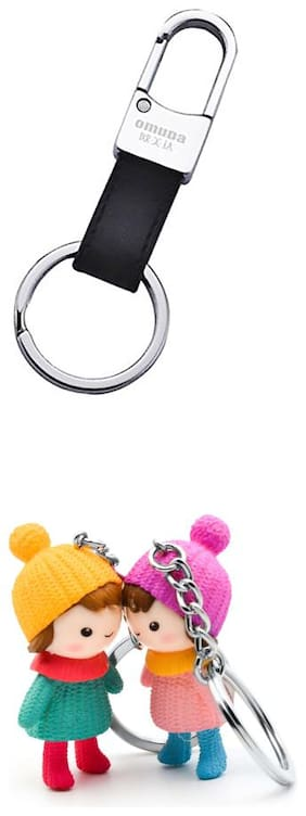 Three Shdes Waist Hanging Leather Keychain & Winter Couple Keychain Combo for Beautiful Couple for Girls & Boys Set of 3