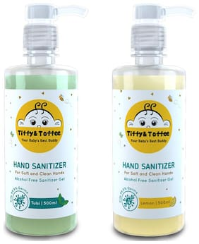 Tiffy & Toffee Hygiene Sanitizer gel (Alcohol free) - Lemon and Tulsi 500 ML (Pack of 2)