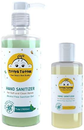 Tiffy & Toffee Hygiene Sanitizer gel (Alcohol free) - Tulsi 500 ML and Lemon 100 ML (Pack of 2)