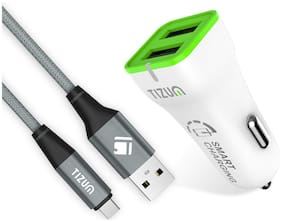 TIZUM Quick Charge 3.4 Amp 2 Port USB Car Charger with Nylon Fiber Type C Cable (White-Green)