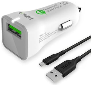 Tizum TM-C140-WHT Qualcomm 2.0 Certified Car Charger With Usb Cable (White)