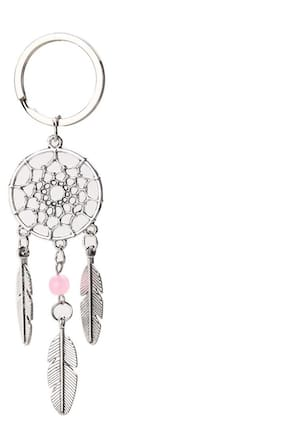 Top Dream Catcher Tone Keychain Silver Ring Feather Tassels Keyring (Pink)
