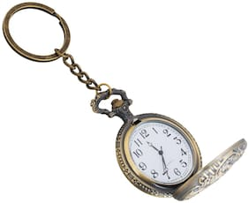 Train Theme Designer Pocket Watch Vintage Clock Metallic Keyring