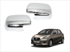 Trigcars Datsun Go Car Side Mirrors Chrome Plated Cover Set Of 2