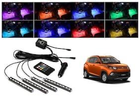 Trigcars Mahindra KUV 100 Car 4X 12Led RGB Car Interior Atmosphere Neon Light Strip Lamps Music Remote Control