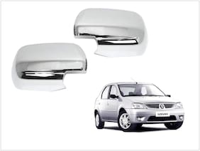 Trigcars Mahindra Logan Car Side Mirrors Chrome Plated Cover Set Of 2