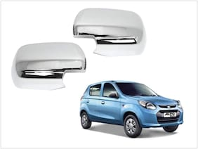 Trigcars Maruti Suzuki Alto 800 Type 1 Car Side Mirrors Chrome Plated Cover Set Of 2