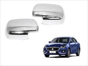 Trigcars Maruti Suzuki Swift Dzire 2017 Car Side Mirrors Chrome Plated Cover Set Of 2