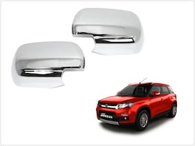 Trigcars Maruti Suzuki Vitara Brezza Car Side Mirrors Chrome Plated Cover Set Of 2