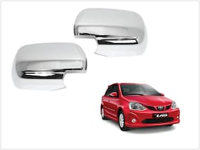 Trigcars Toyota Etios Liva Car Side Mirrors Chrome Plated Cover Set Of 2