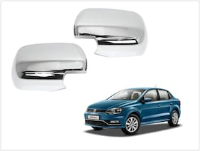 Trigcars Volkswagen Ameo Car Side Mirrors Chrome Plated Cover Set Of 2