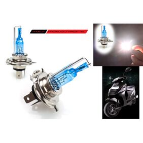 MXS Motosport Xenon HID Type Halogen White Light Bulbs H4 For Mahindra Scooter Kine Pair