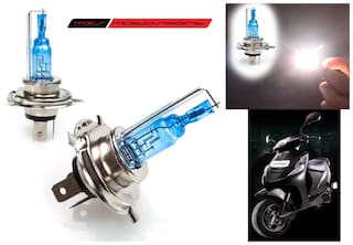 True Vision True Visiontosport Xenon HID Type Halogen White Light Bulbs H4 For Mahindra Scooter Kine Pair