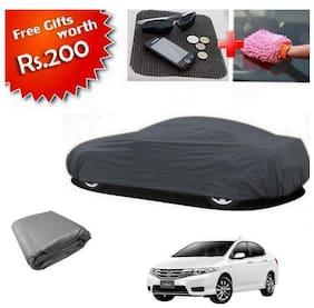True Vision K3XL Grey Car Body Cover With Free Anti Slip Mat & Dusting Gloves For Honda City I-VTEC