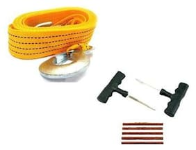 Tubeless Tyre Puncture Repair Kit + Car Towing Rope 3 Ton Capacity 5 m