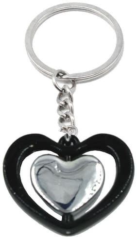 Twin Rotating Black Love Heart Quality Key Chain Gifting for Valentine Day/Birthday/Friendship Day