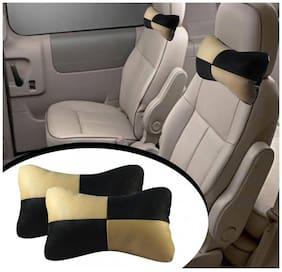 Type R Designer Car Seat Neck Cushion Pillow Beige & Black