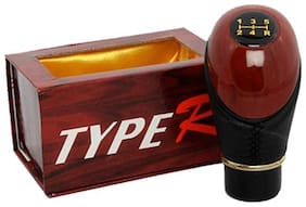 Type R - Leather Plastic Gear Knob Handle For Car- Brown &Black
